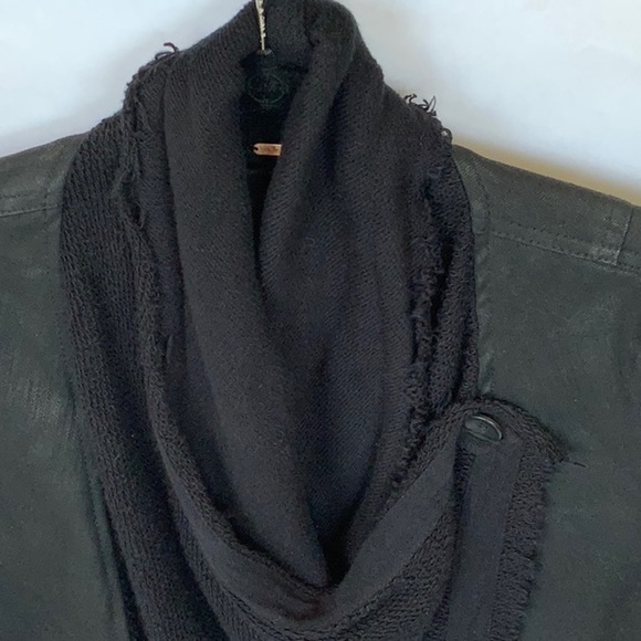 Free People Black Sweater Collar Denim Jean Jacket